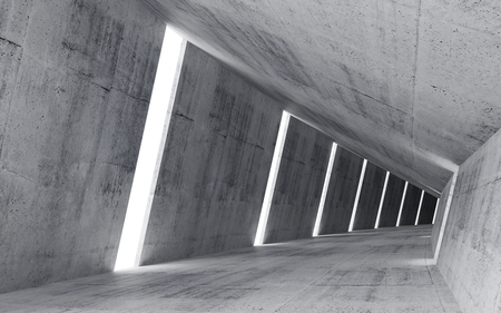 tunnel: Empty abstract concrete interior, 3d render of pitched tunnel