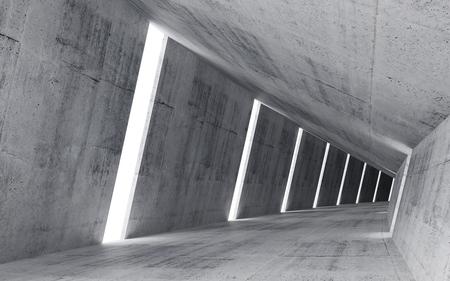 Lege abstracte concreet interieur, 3d maken van hellende tunnel
