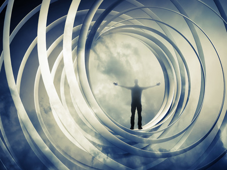 swirl backgrounds: Man stands inside spiral abstraction on dark toned background