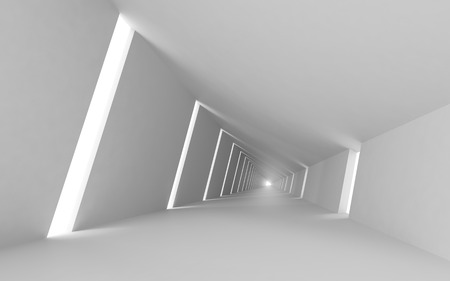 Abstract empty 3d interior background, white corridor Stock Photo