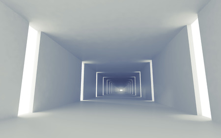 Abstract empty 3d interior background with corridor perspective and lights photo