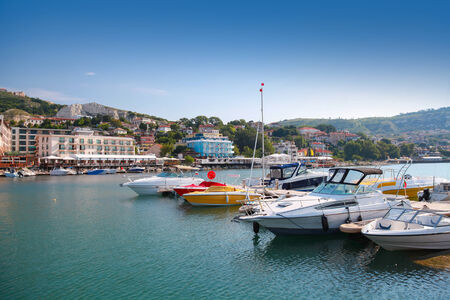 balchik: Yachts and pleasure boats are moored in marina of Balchik Stock Photo