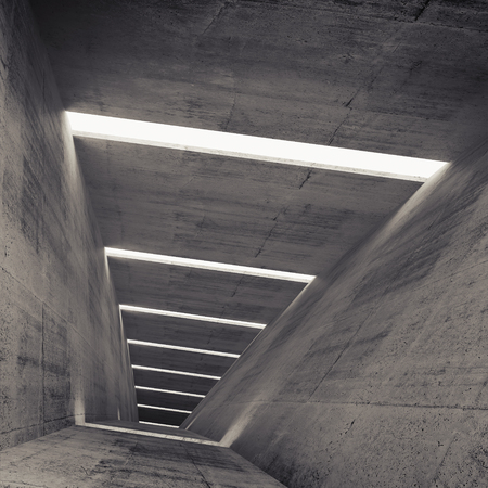 celling: Abstract empty dark concrete tunnel interior, 3d background