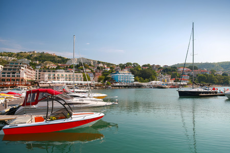 balchik: Yachts and pleasure boats are moored in marina of Balchik, Bulgaria