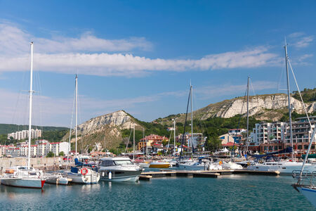 balchik: Yachts and pleasure boats are moored in marina of Balchik, Bulgaria