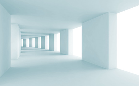 Abstract architecture 3d background, empty blue corridor photo