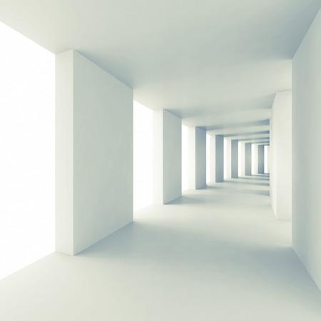 建築 3 d 背景を抽象化、空の白い回廊の視点 写真素材