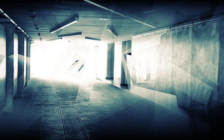 Abstract underground corridor interior with glowing end and polygons illumination photo