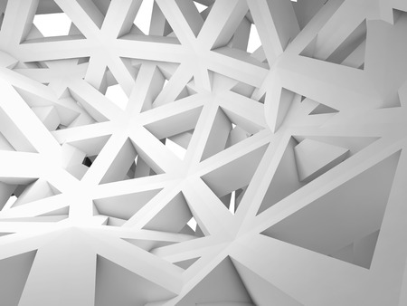 Abstract 3d with chaotic white triangle wire construction Stock Photo