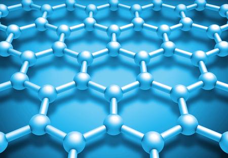 conductivity: Graphene layered molecule structure, blue schematic model. 3d render illustration