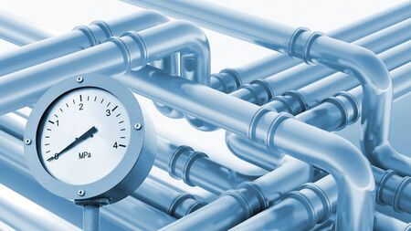 manometer: Modern industrial metal pipeline fragment with zero pressure manometer indication