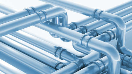 plumbing supply: Modern industrial blue metal pipeline fragment. 3d render illustration
