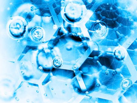 Science background illustration, bright blue chemical molecular structures illustration