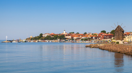 Panoramic view of ancient town Nessebar, Bulgaria. Black Sea coast in sunny day