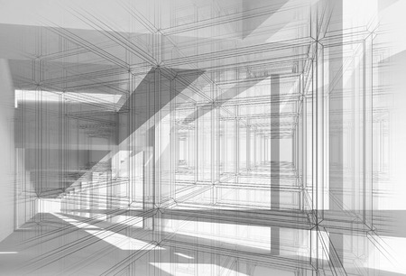 Abstract architecture 3d background with perspective view of white digital corridor photo