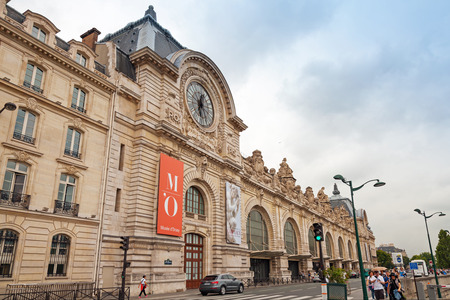PARIS, FRANCE - AUGUST 07, 2014: Facade of the Orsay modern art Museum in Paris, France