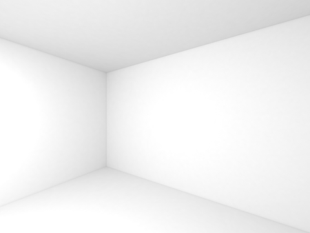 Empty white 3d room interior background with corner and soft shadows