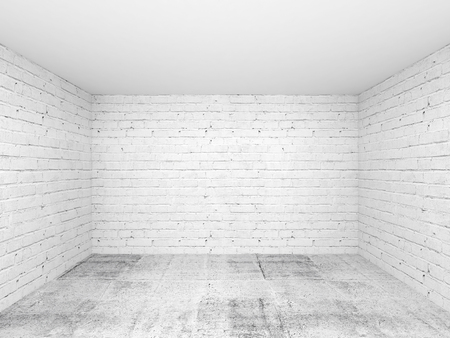 corner house: Empty white 3d room interior background with brick walls and concrete floor