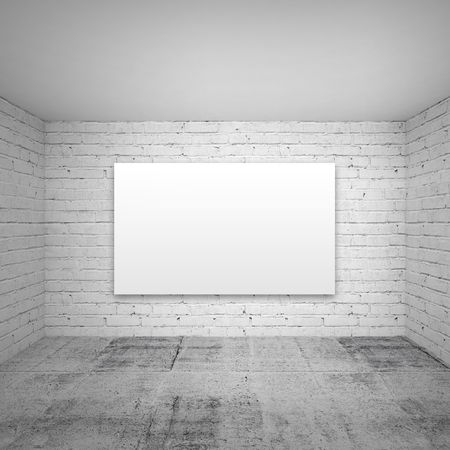 Empty white 3d room interior background with brick walls and concrete floor and empty poster photo
