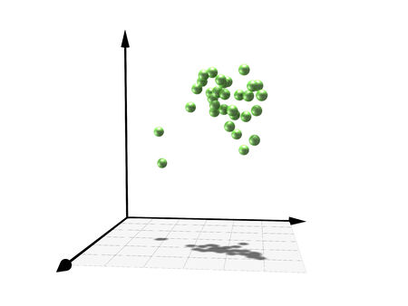 engeneering: Abstract statistical scientific graphics with cloud of green shining spheres inside of 3d coordinate system, isolated on white background
