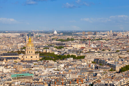Birds eye view from Eiffel Tower on Paris city, France photo