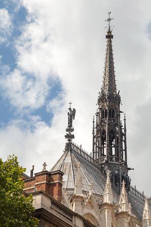 ile de la cite: Spire of La Sainte-Chapelle. Gothic chapel The Holy Chapel placed on the Ile de la Cite island in the center of Paris, France