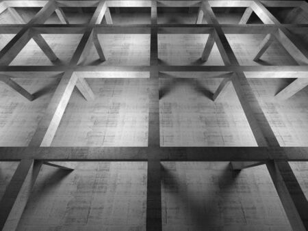 Abstract industrial empty 3d concrete interior, top view with perspective effect photo