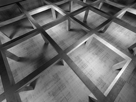 Abstract industrial empty 3d concrete interior. Top view with perspective effect photo