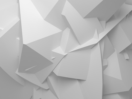 Abstract white digital 3d chaotic polygonal surface background texture Reklamní fotografie