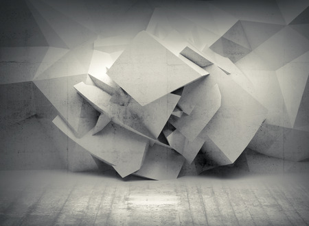 Abstract 3d white background with chaotic concrete polygonal surface in empty interior Archivio Fotografico
