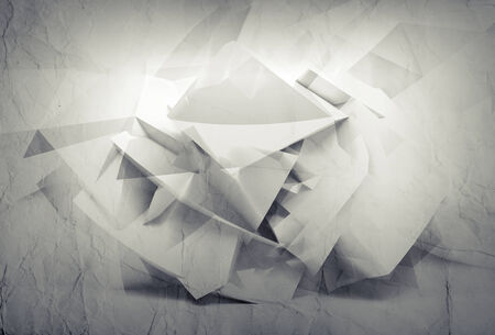 Abstract 3d white background with chaotic paper polygonal surface photo