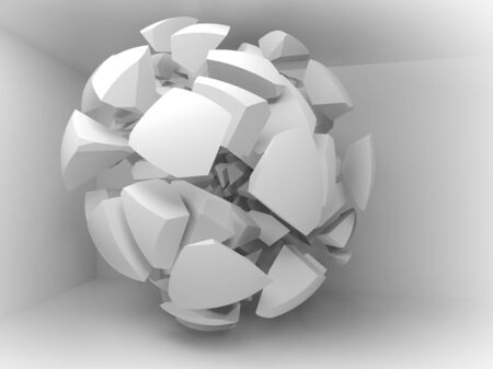 big break: Abstract 3d background with white fragments of big sphere in empty room interior Stock Photo