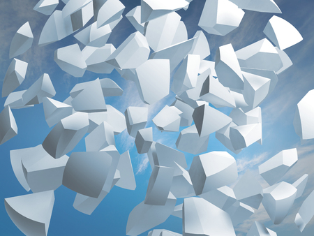 Abstract 3d illustration with flying white fragments of big sphere on blue sky background illustration