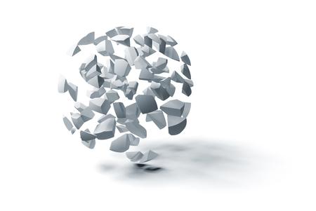 抽象的な 3 d オブジェクト、小さな球状の断片白で隔離の雲