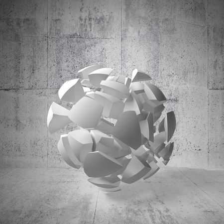 fragments: Abstract 3d background with white fragments of big sphere in empty concrete interior