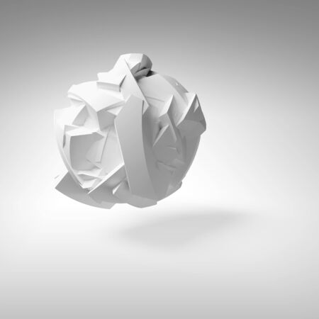 fragmented: Abstract 3d object, white big flying chaotic fragmented shape with soft shadow
