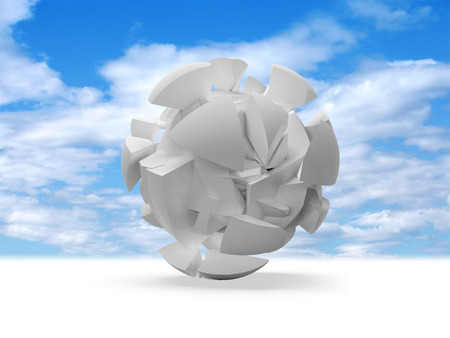 Abstract 3d spherical object, cloud of white fragments on blue sky background photo