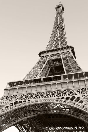Looking up on Eiffel Tower, the most popular landmark of Paris, France.  photo