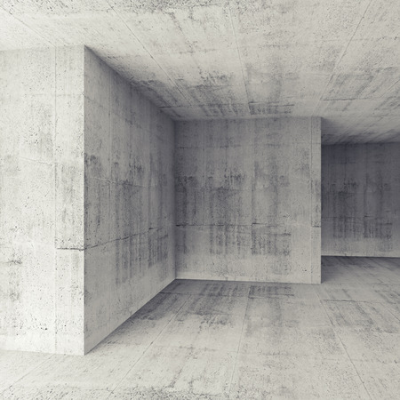 concrete: Abstract architectural 3d background, white concrete empty room interior Stock Photo