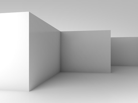 new corner: Abstract architectural 3d background, white empty room interior with corners Stock Photo