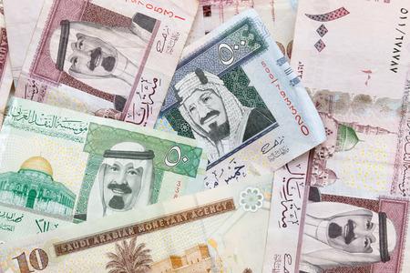 Modern Saudi Arabia money, banknotes detailed background photo texture