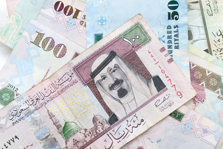 Modern Saudi Arabia money, banknotes close-up background photo texture