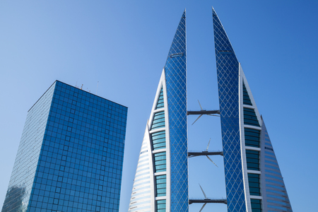 world trade center: Manama, Bahrain - November 21, 2014: Bahrain World Trade Center. This is a 240-meter-high, 50-floor, twin tower complex. Was built in 2008