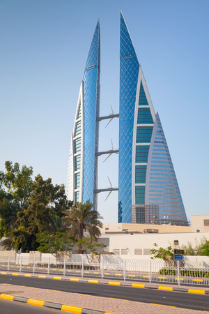 world trade center: Manama, Bahrain - November 21, 2014: Modern building of The Bahrain World Trade Center located in Manama city Editorial