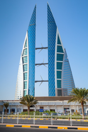 Manama, Bahrain - November 21, 2014: Modern building of The Bahrain World Trade Center located in Manama city Publikacyjne