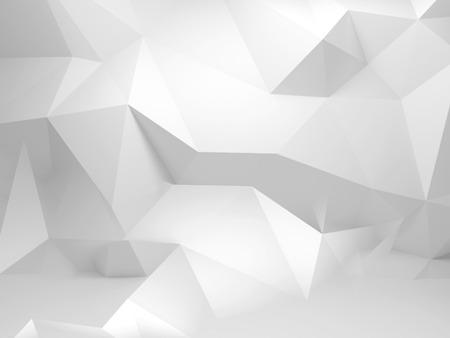 Abstrakt weiß 3D-Hintergrund mit mehreckigen Muster an der Wand