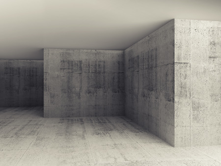 Abstract architectural 3d background, empty concrete room interior