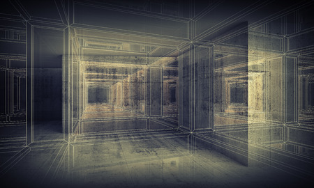 Abstract digital interior 3d background with perspective wire-frame view of dark corridor Stock Photo