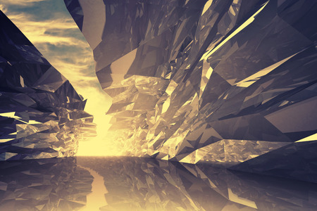 Abstract digital 3d background. Bent crystal corridor with rugged walls and glowing end. Golden light toned effect, Instagram filter photo
