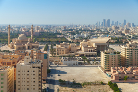 bird view: Bird view of Manama city, Bahrain. Skyline with old and modern buildings on the horizon